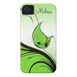 Casemate iPhone4 Lime Green Butterfly Black Swirls iPhone 4 Case
