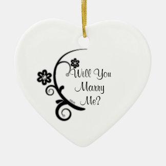 Cáseme falso ornamento del compromiso de la flor adorno navideño de cerámica en forma de corazón