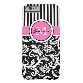 caseMonogrammed Pink, Black, White Striped Damaskc iPhone 6 Case