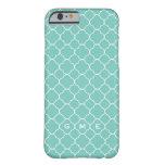 caseQuatrefoil clover pattern blue teal 3 monogram iPhone 6 Case