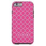 caseQuatrefoil clover pattern hot pink 3 monogramc iPhone 6 Case