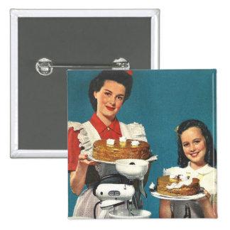 Casero retro del libro de cocina del kitsch 50s de pin cuadrada 5 cm