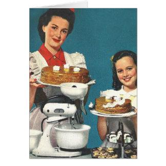 Casero retro del libro de cocina del kitsch 50s de tarjeta de felicitación