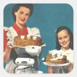 Casero retro del libro de cocina del kitsch 50s calcomania cuadrada personalizada