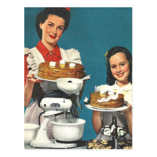 Casero retro del libro de cocina del kitsch 50s tarjetas postales