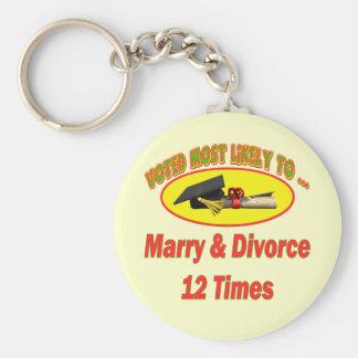 Cásese y divorcíese llavero redondo tipo pin