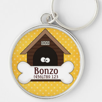 Caseta de perro y etiqueta de la identificación de llavero redondo plateado