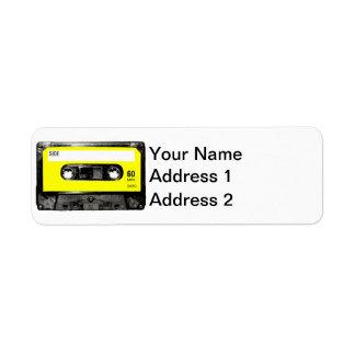 Casete amarillo de la etiqueta etiquetas de remite