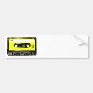 Casete amarillo del vintage de la etiqueta etiqueta de parachoque