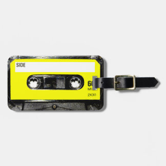 Casete amarillo del vintage de la etiqueta etiqueta para maleta