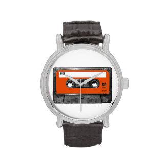 Casete anaranjado de la etiqueta de la cosecha relojes de pulsera