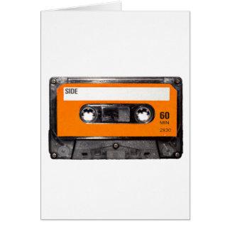 Casete anaranjado de los años 80 de la etiqueta tarjeta de felicitación