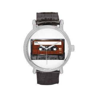 Casete anaranjado y negro de Houndstooth Relojes De Pulsera