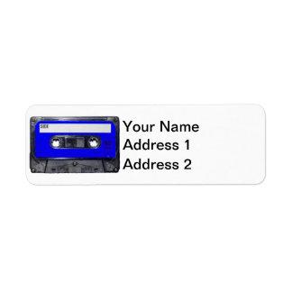 Casete azul de la etiqueta etiqueta de remite