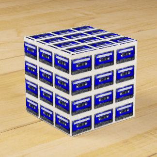 Casete azul de la etiqueta caja para regalos