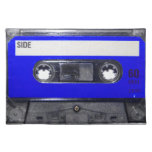 Casete azul de la etiqueta de los años 80 del vint mantel individual