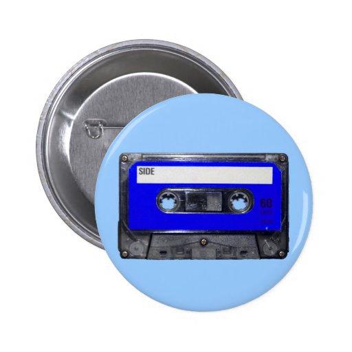 Casete azul de la etiqueta de los años 80 del vint pin redondo 5 cm