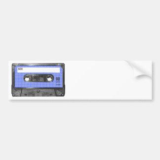 Casete azul y blanco de la etiqueta de Houndstooth Etiqueta De Parachoque
