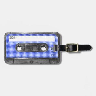 Casete azul y blanco de la etiqueta de Houndstooth Etiquetas De Maletas