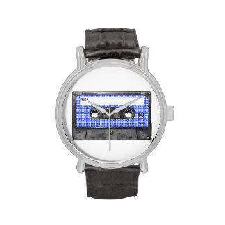 Casete azul y blanco de la etiqueta de Houndstooth Reloj De Mano