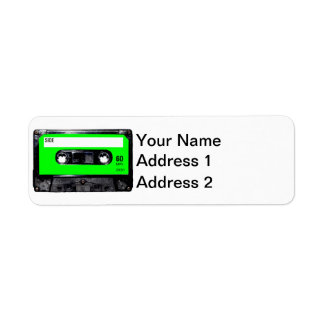 Casete brillante de la etiqueta de la verde lima etiqueta de remite