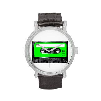 Casete brillante de la etiqueta de la verde lima reloj