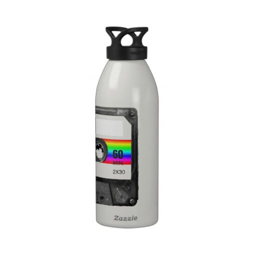Casete con la etiqueta de la raya del arco iris botellas de agua reutilizables