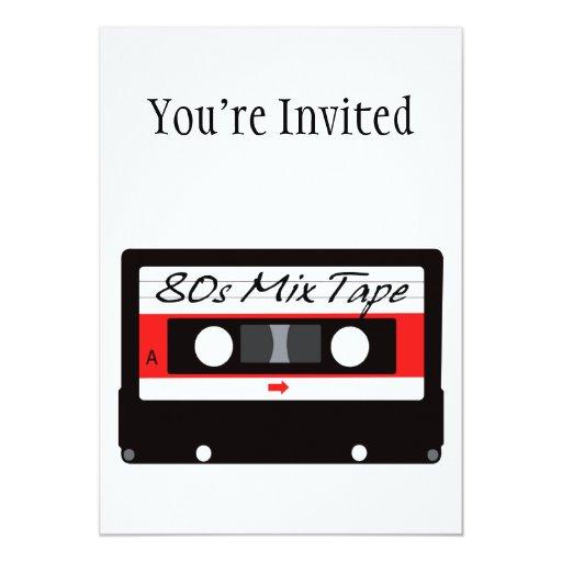 """casete de cinta de la mezcla de la música 80s invitación 5"""" x 7"""""""
