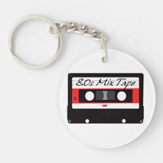 casete de cinta de la mezcla de la música 80s llavero redondo acrílico a doble cara