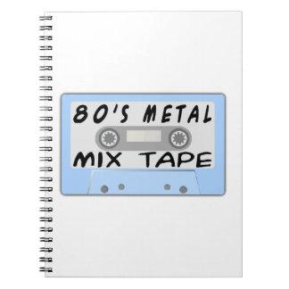casete de cinta de la mezcla del metal 80s cuadernos