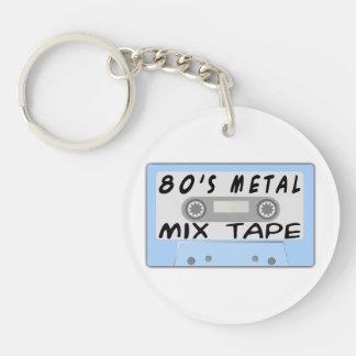 casete de cinta de la mezcla del metal 80s llavero redondo acrílico a doble cara