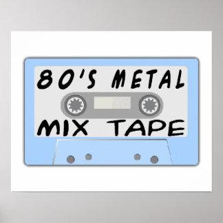 casete de cinta de la mezcla del metal 80s póster