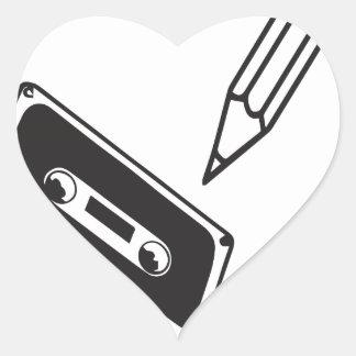 casete de la escuela del ol pegatina en forma de corazón