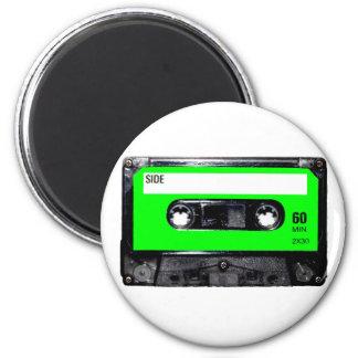 Casete de la etiqueta de la verde lima imanes