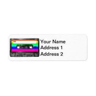 Casete de la etiqueta del arco iris etiqueta de remite