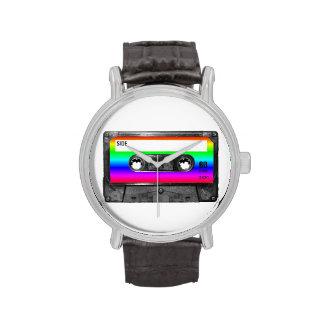Casete de la etiqueta del arco iris relojes