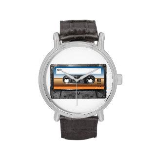 Casete de la etiqueta del horizonte del desierto reloj de mano