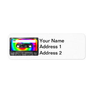 Casete de la etiqueta del remolino del arco iris etiqueta de remite