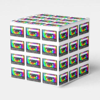 Casete de la etiqueta del remolino del arco iris cajas para regalos