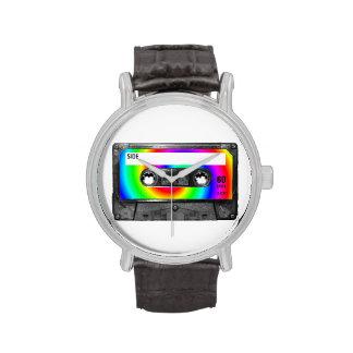 Casete de la etiqueta del remolino del arco iris relojes de pulsera