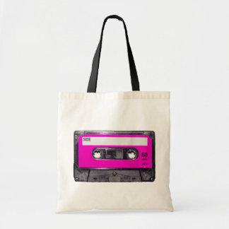 casete de la etiqueta del rosa de los años 80 bolsa de mano