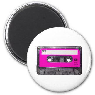 casete de la etiqueta del rosa de los años 80 imán