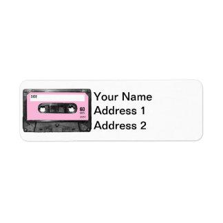 Casete de la etiqueta del rosa en colores pastel etiqueta de remite