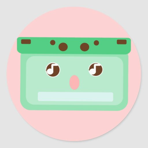 casete de música etiqueta redonda