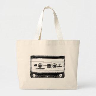 Casete del arte pop bolsa de tela grande