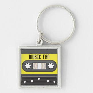 Casete del fan de música con llavero de la cinta d