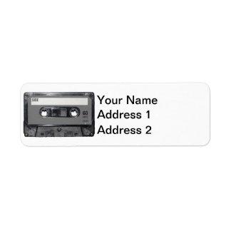 Casete gris de la etiqueta etiqueta de remite