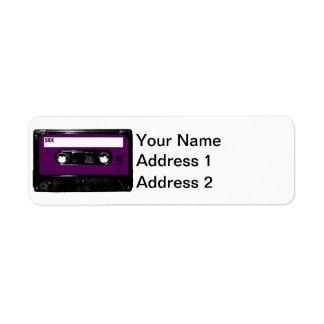 Casete púrpura de la etiqueta etiquetas de remite