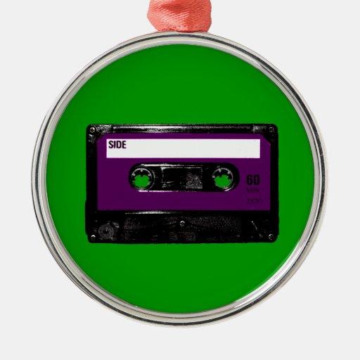 Casete púrpura de la etiqueta del vintage adorno navideño redondo de metal