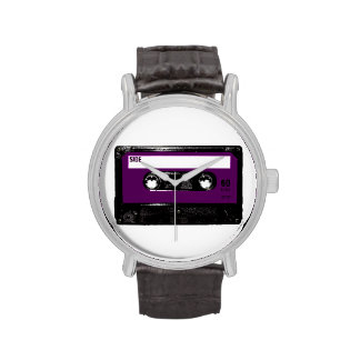 Casete púrpura de la etiqueta reloj